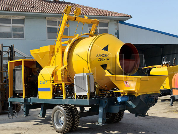 concrete mixer machine with pump