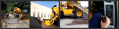 self loading concrete mixer work site