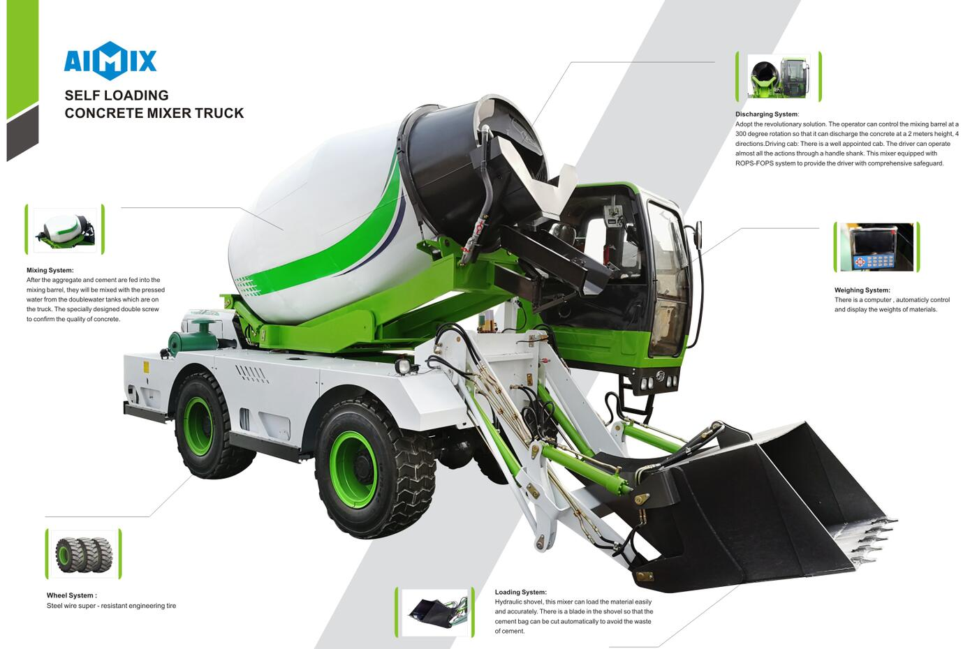 self loading concrete mixer feature